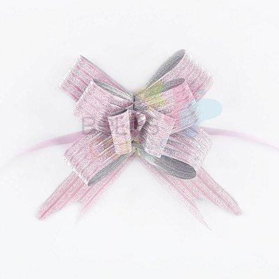 Laço Fácil Pronto Glitter Rosa Listrado - 100 unidades
