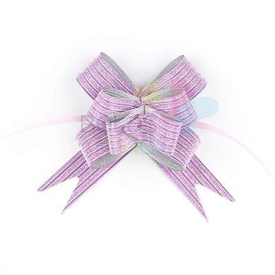Laço Fácil Pronto Glitter Lilás Listrado - 10 unidades