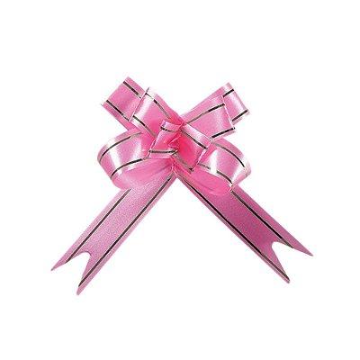 Laço Fácil Pronto Rosa com Prata - 10 unidades