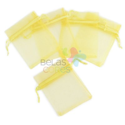 Saquinho de Organza 7x9 cm Amarelo - 50 unidades