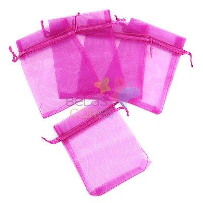 Saquinho de Organza 7x9 cm Pink - 50 unidades