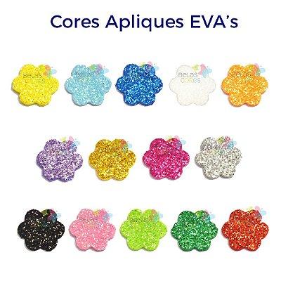 Mini Aplique de EVA Glitter Modelo Escalope Diversas Cores - Tamanho PP - 50 unidades
