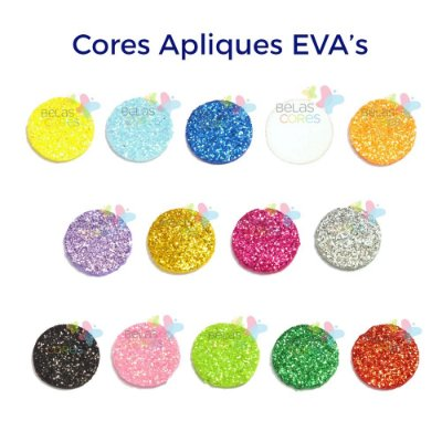 Mini Aplique de EVA Glitter Modelo Bola Diversas Cores - Tamanho PP - 50 unidades