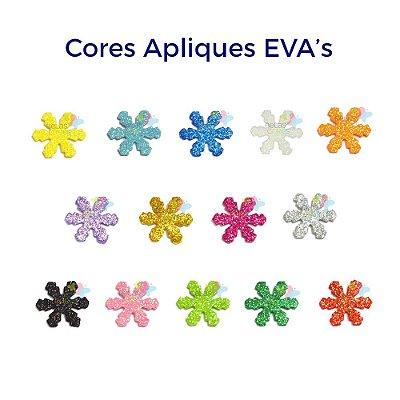 Mini Aplique de EVA Glitter Modelo Gelo/Neve  - Diversas Cores - Tamanho P - 50 unidades