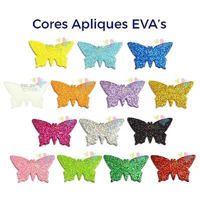 Aplique de EVA Glitter Modelo Borboleta - Diversas Cores - Tamanho G - 50 unidades