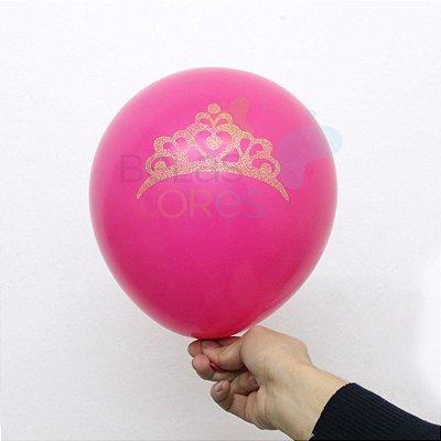 Balão/Bexiga Pink Coroa Glitter Nº 11 - 12 unidades