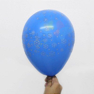 Balão/Bexiga Azul Celeste Floco de Neve Nº 11 - 12 unidades
