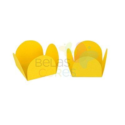 Forminha para Docinho Caixeta Amarela Fosca Lisa  - Kit 25 unidades