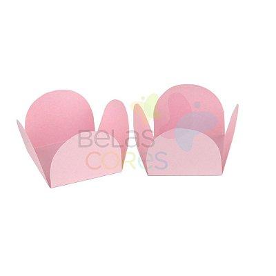 Forminha para Docinho Caixeta Rosa Brilhosa - Kit 25 unidades