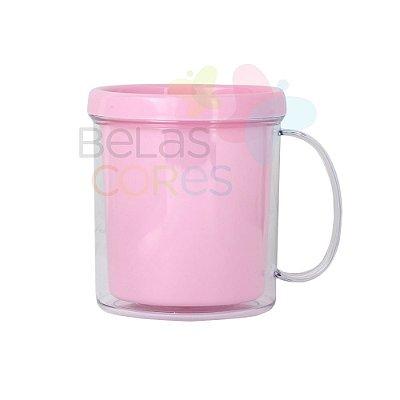 Caneca Acrílica com Rosca Rosa Bebê - 10 unidades