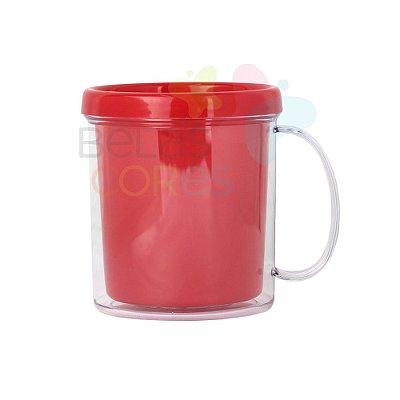 Caneca Acrílica com Rosca Vermelha - 10 unidades