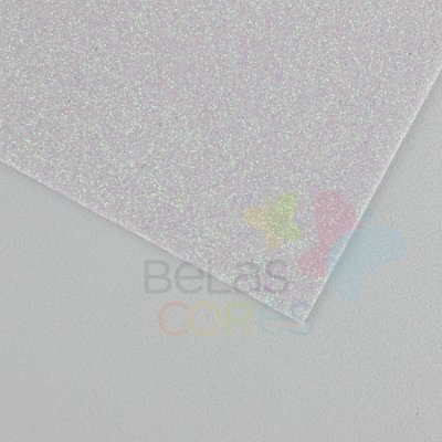 Folha de EVA 40x60cm - Glitter Branco Neon - 5 unidades