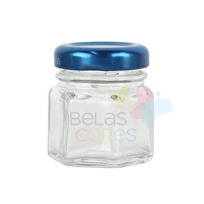 Pote de Papinha de Vidro Sextavado 30gr - Azul Royal - 10 Unid