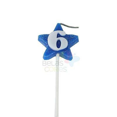 Velas de Aniversário Estrela - Numero 6