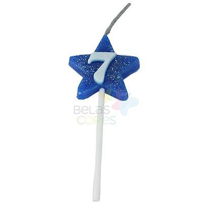 Velas de Aniversário Estrela - Numero 7 (Escolha a Cor)