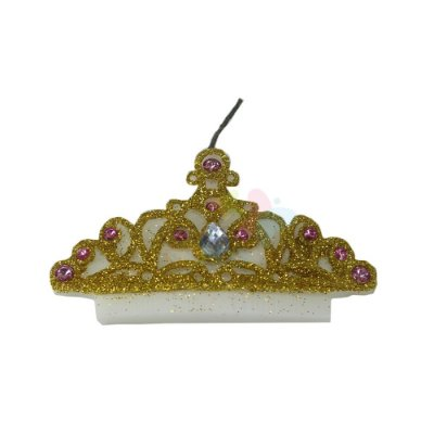 Vela de Aniversário Coroa Com Strass Rosa