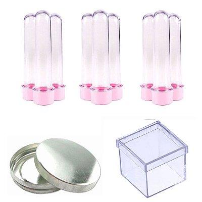 100 Tubetes 100 Latinhas Metal 100 Caixinhas Acrílicas 5x5 - Rosa