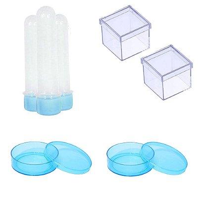 100 Latinhas Acrílicas 100 Tubetes 13 Cm 100 Caixinhas 5x5 - Azul Bebê