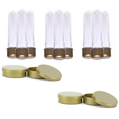 Kit 100 Tubetes 13cm E 100 Latinhas De Plástico 5x1 - Dourado