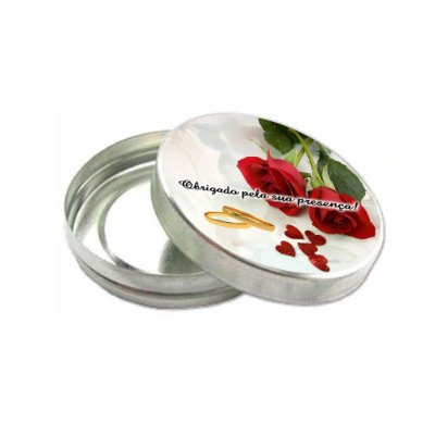 30 Latinhas de Metal Lembrancinha de Casamento com Adesivo e saquinho celofane CA244