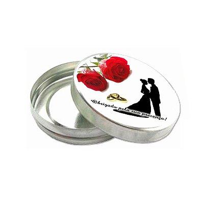 100 Latinhas de Metal Lembrancinha de Casamento com Adesivo e saquinho Celofane CA252