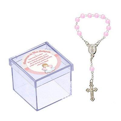 30 Caixinhas 5x5 com Mini Terço Rosa Lembrancinha de Batizado BT107