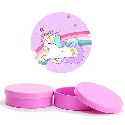 Kit Festa Unicornio 50 Latinhas de Plástico 50 Adesivos - Pink