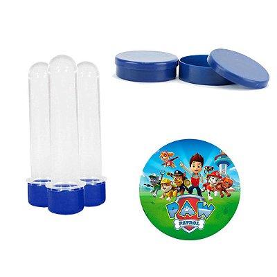 Kit Festa Patrulha Canina 50 Tubetes 50 Latinhas de plástico 100 Adesivos Azul
