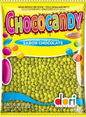 Chococandy Mini  Pastilhas Confeitadas Amarelo Sabor Chocolate Dori