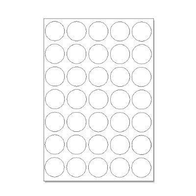 Etiquetas / Adesivos Fotográficos Brilhosa / Redondo 3,5cm - 10 Folhas (350 Adesivos)