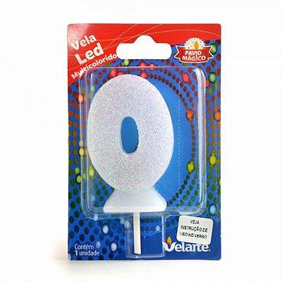 Vela Led Multicolorido Número 0 Velarte 7cm - 1 Unidade