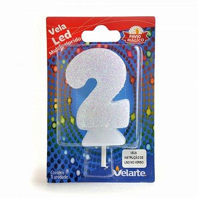 Vela Led Multicolorido Número 2 Velarte 7cm - 1 Unidade