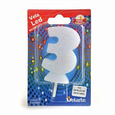 Vela Led Multicolorido Número 3 Velarte 7cm - 1 Unidade