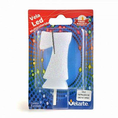 Vela Led Multicolorido Número 7 Velarte 7cm - 1 Unidade