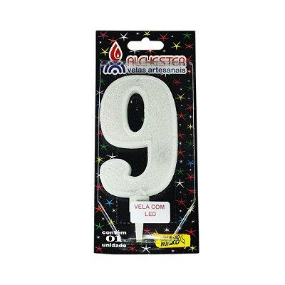 Vela Led Número 9 Alchester 10cm - 1 Unidade
