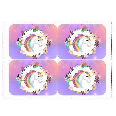 Adesivo Unicórnio para Lembrancinha Marmitinha 240ml - 9x12,5cm