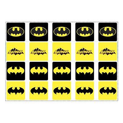 Adesivo Batman Geek para Lembrancinha Quadrado 4,7cm