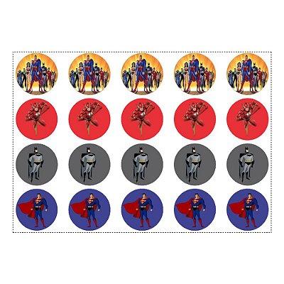 Adesivo Liga da Justiça para Lembrancinha Redondo 4,7cm