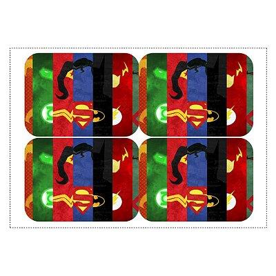 Adesivo Liga da Justiça para Lembrancinha Marmitinha 240ml - 9x12,5cm