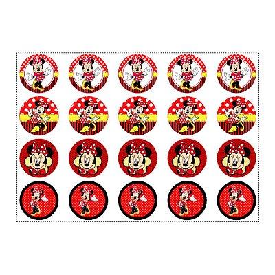 Adesivo Minnie Vermelha para Lembrancinha Redondo 4,7cm