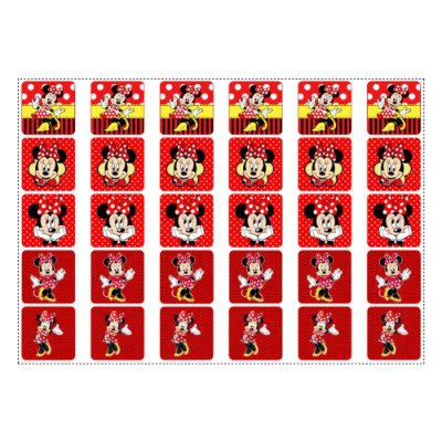 Adesivo Minnie Vermelha para Lembrancinha Quadrado 3,7cm