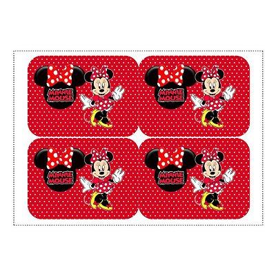 Adesivo Minnie Vermelha para Lembrancinha Marmitinha 240ml - 9x12,5cm