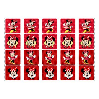 Adesivo Minnie Vermelha para Lembrancinha Quadrado 4,7cm