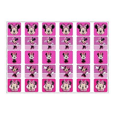 Adesivo Minnie Rosa para Lembrancinha Quadrado 3,7cm