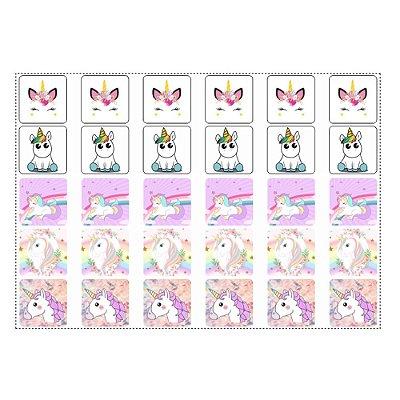 30 Adesivos Unicornio para Lembrancinha Quadrado 3,7cm