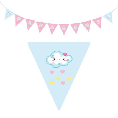 10 Bandeirolas Triangular Chuva de Amor Menina