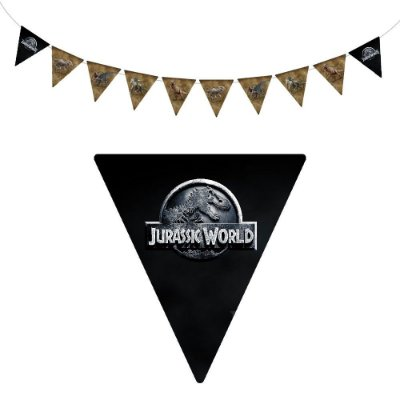 10 Bandeirolas Triangular Jurassic World