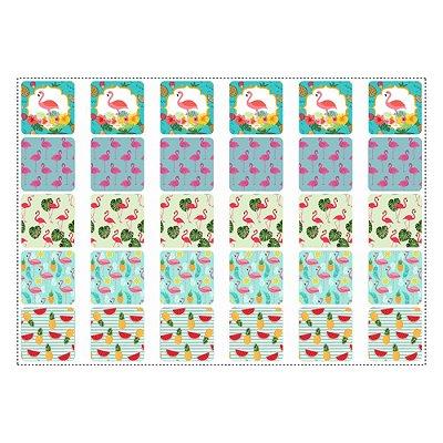 30 Adesivos Flamingo Abacaxi Quadrado 3,7cm