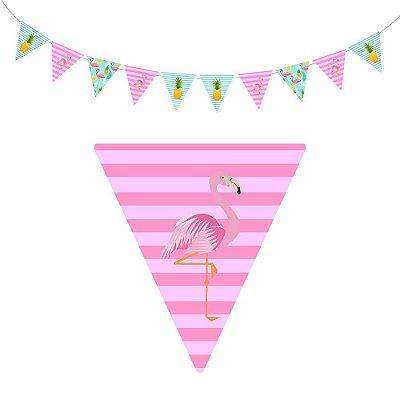 10 Bandeirolas Triangular Flamingo Abacaxi