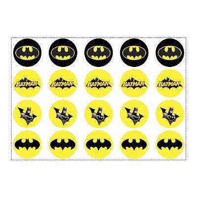 20 Adesivos Batman Geek para Lembrancinha Redondo 4,7cm